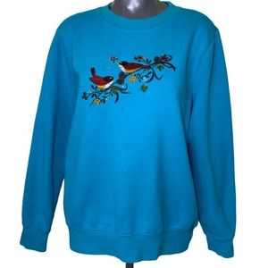 Vintage Bird Embroidered Grandma Pullover Top